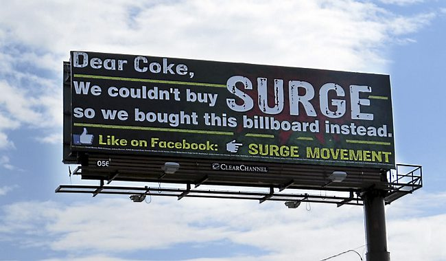 Surge Movement, a Facebook page calling on Coca-Cola to bring ba